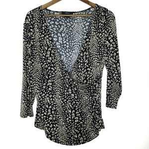 CDP & CO. Faux Wrap Rouched 3/4 Sleeve Print Top